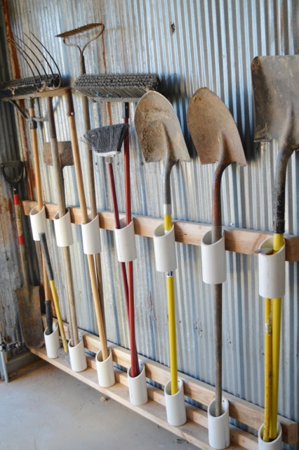 PVC pipe garage organization