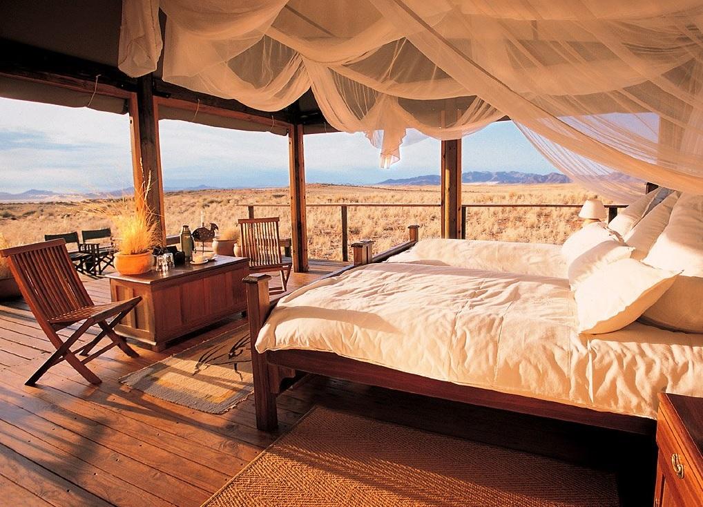luxury tent bedroom