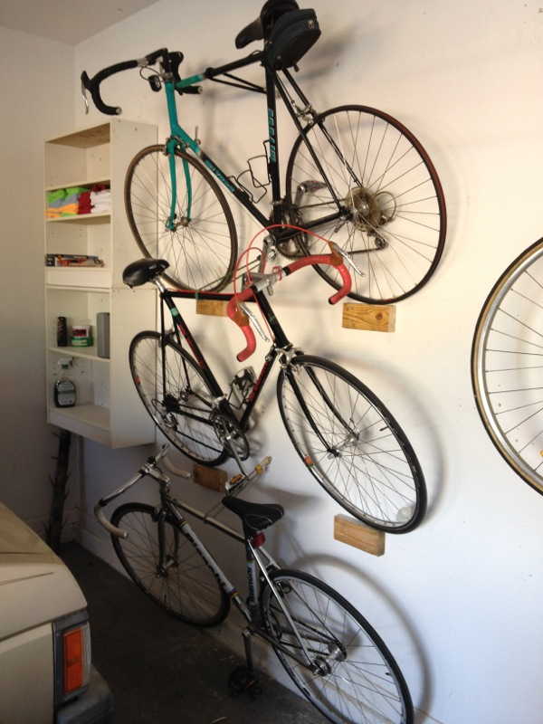 stacked bike rack garage hack