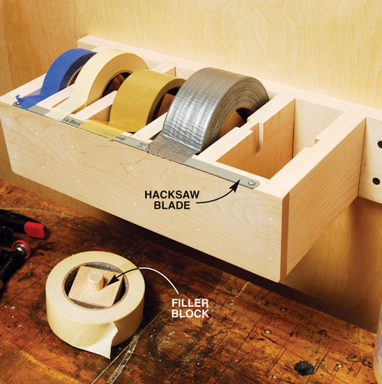 tape dispenser garage hack