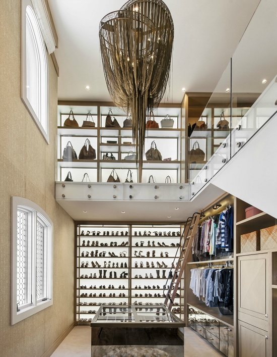 closet with a loft