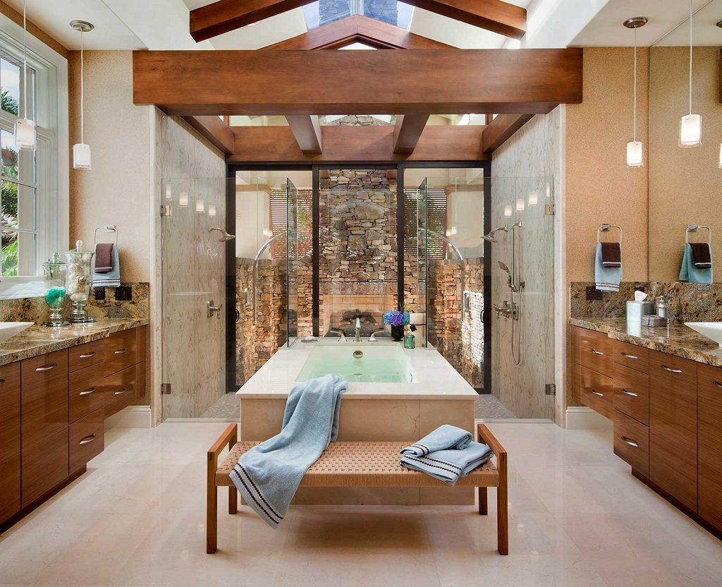 dual shower fireplace bathroo