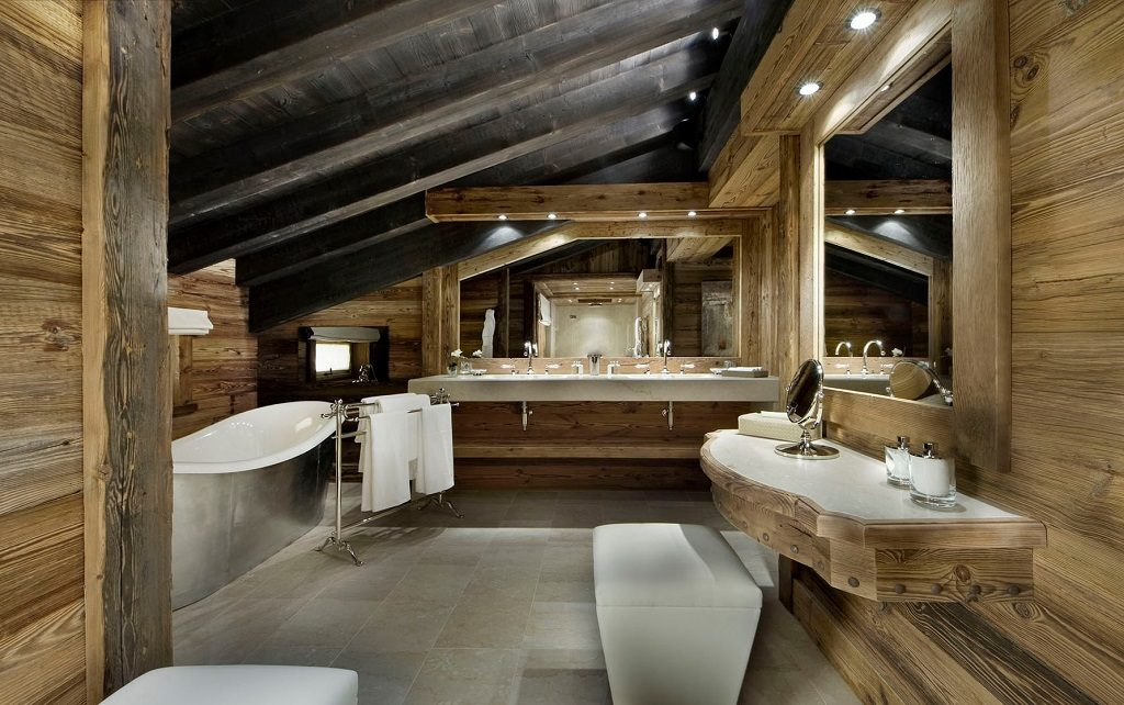 wood beam bathroom
