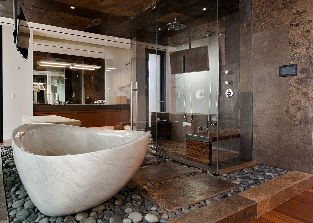 wood stone bathroom