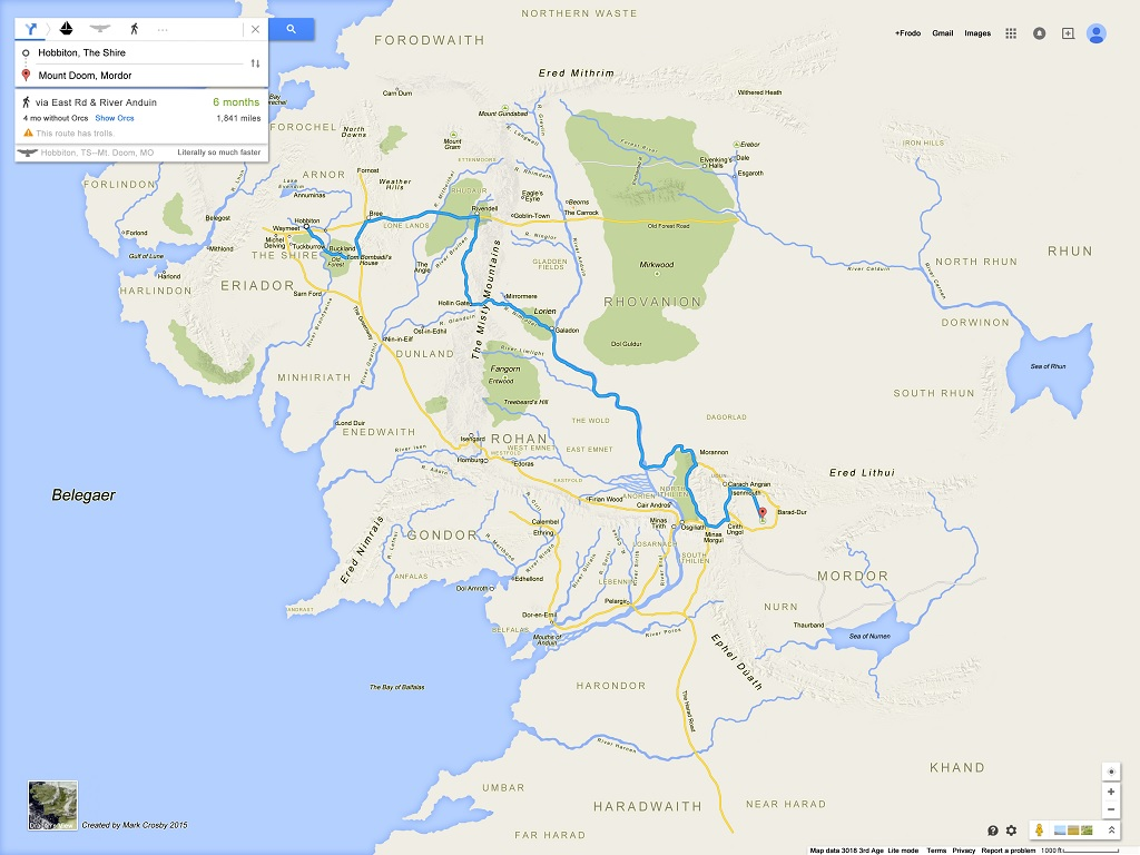 Lord of the Rings Google Maps