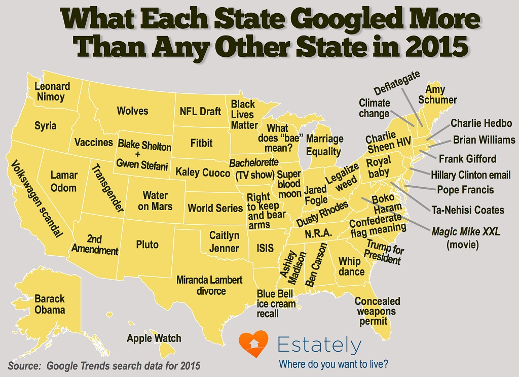 What states googled 2015