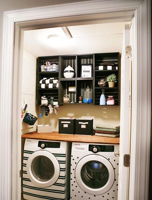 laundry room crate shelf
