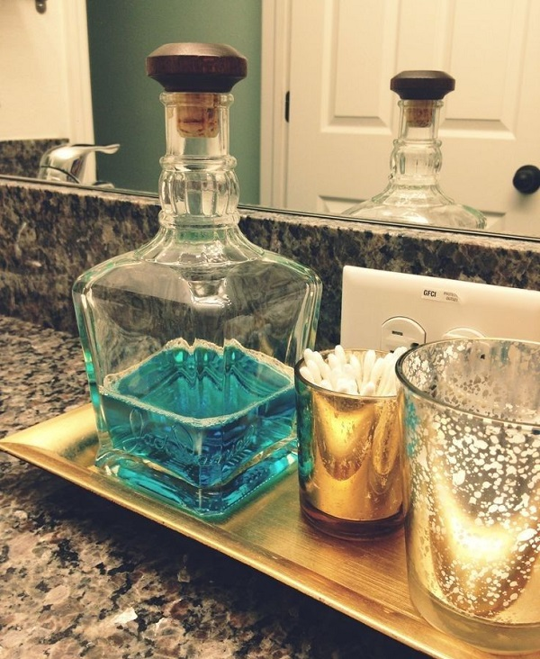 mouthwash decanter bathroom hack