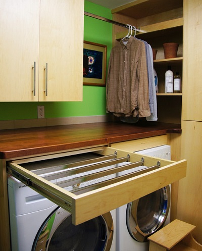 pull-out drying rack laundry room