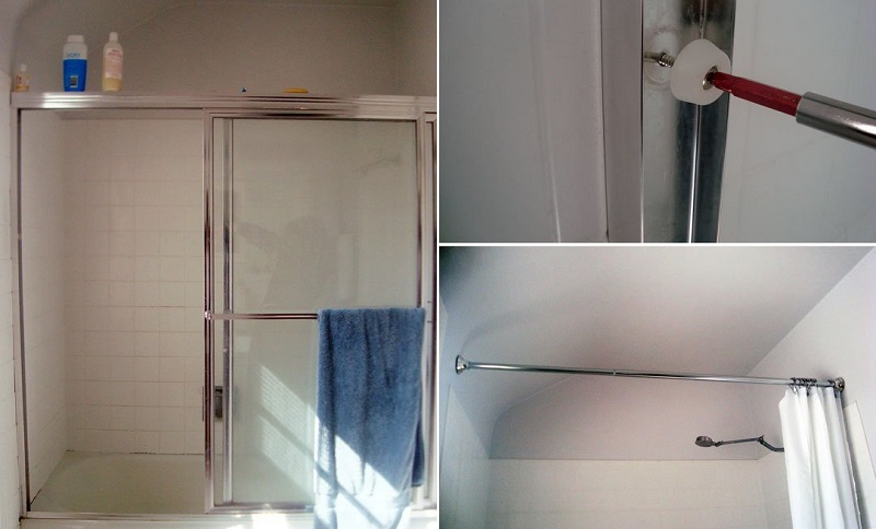 shower door removal bathroom hack