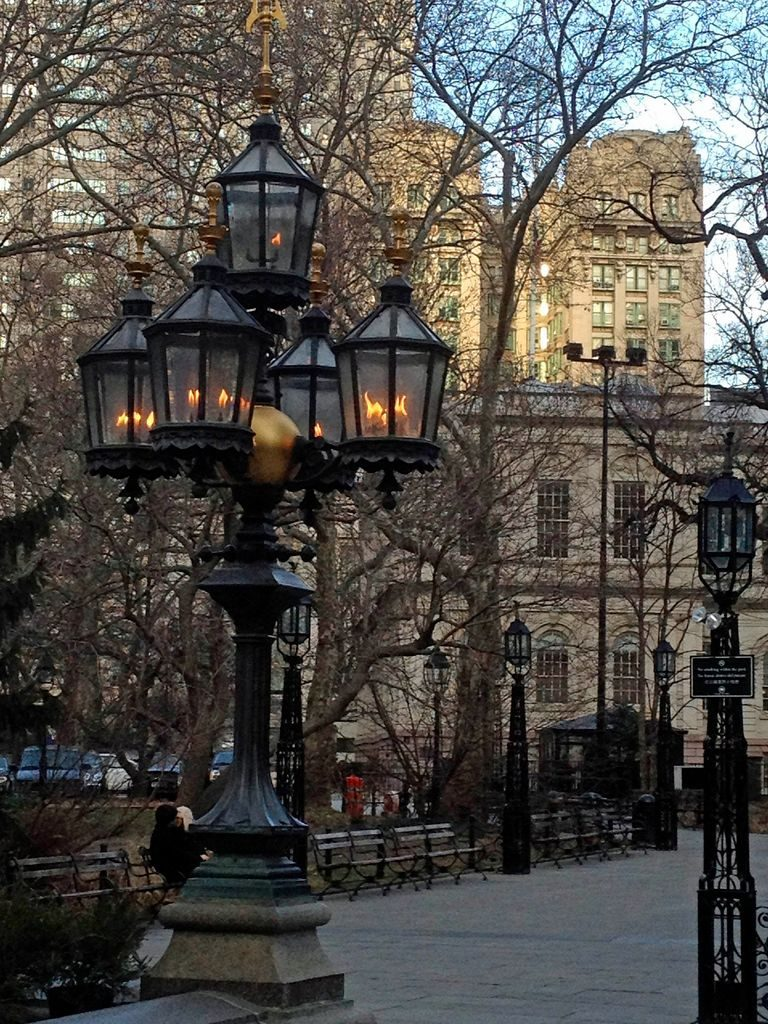Original gas lamps in City Hall Park