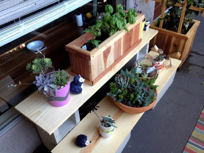 cinder block shelf balcony