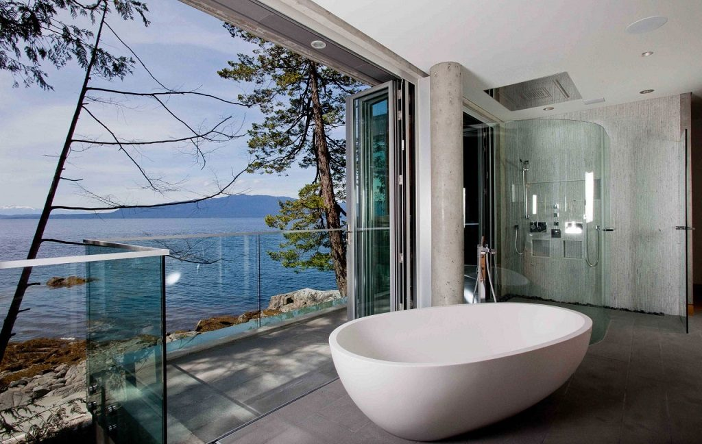 folding glass doors bathroom