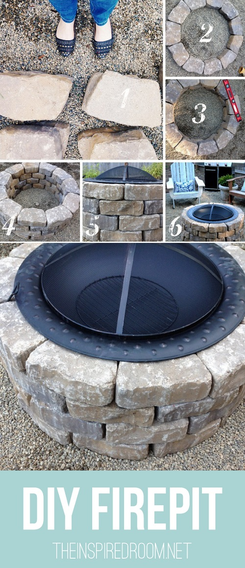 DIY fire pit backyard