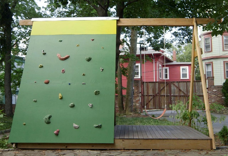 DIY rock-climbing wall backyard