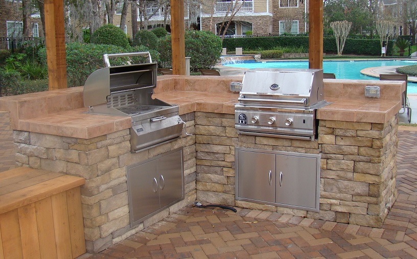 double barbecue outdoor kitchen