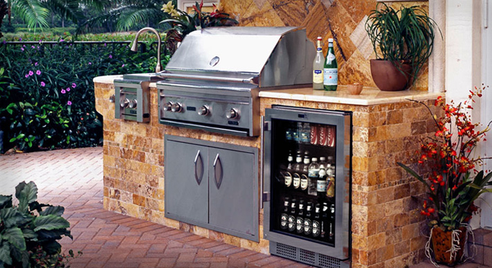 outdoor kitchen beer fridge