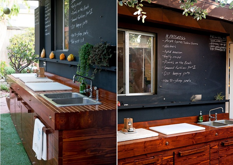 outdoor kitchen chalkboard wall