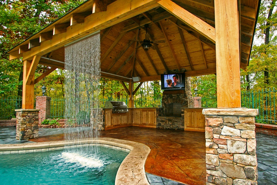 outdoor kitchen waterfall 2