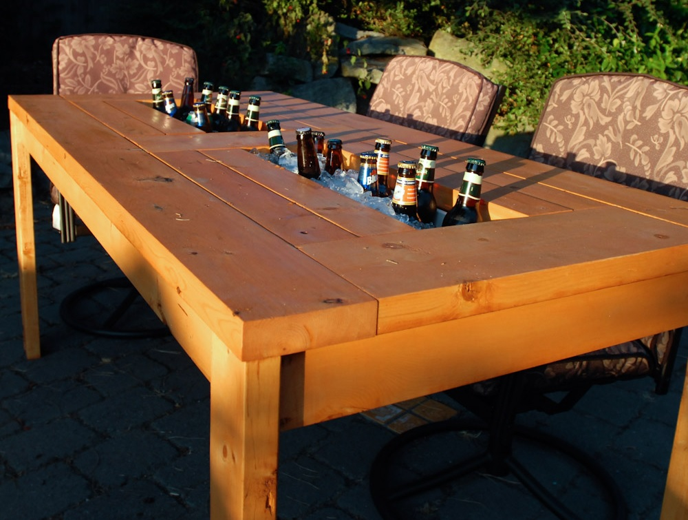 picnic table beer cooler outdoor kitchen