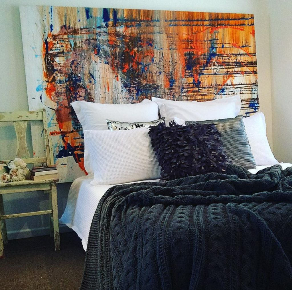 oversized art headboard