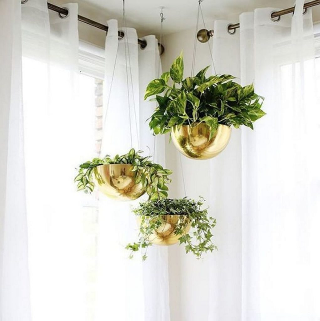 metallic hanging planters