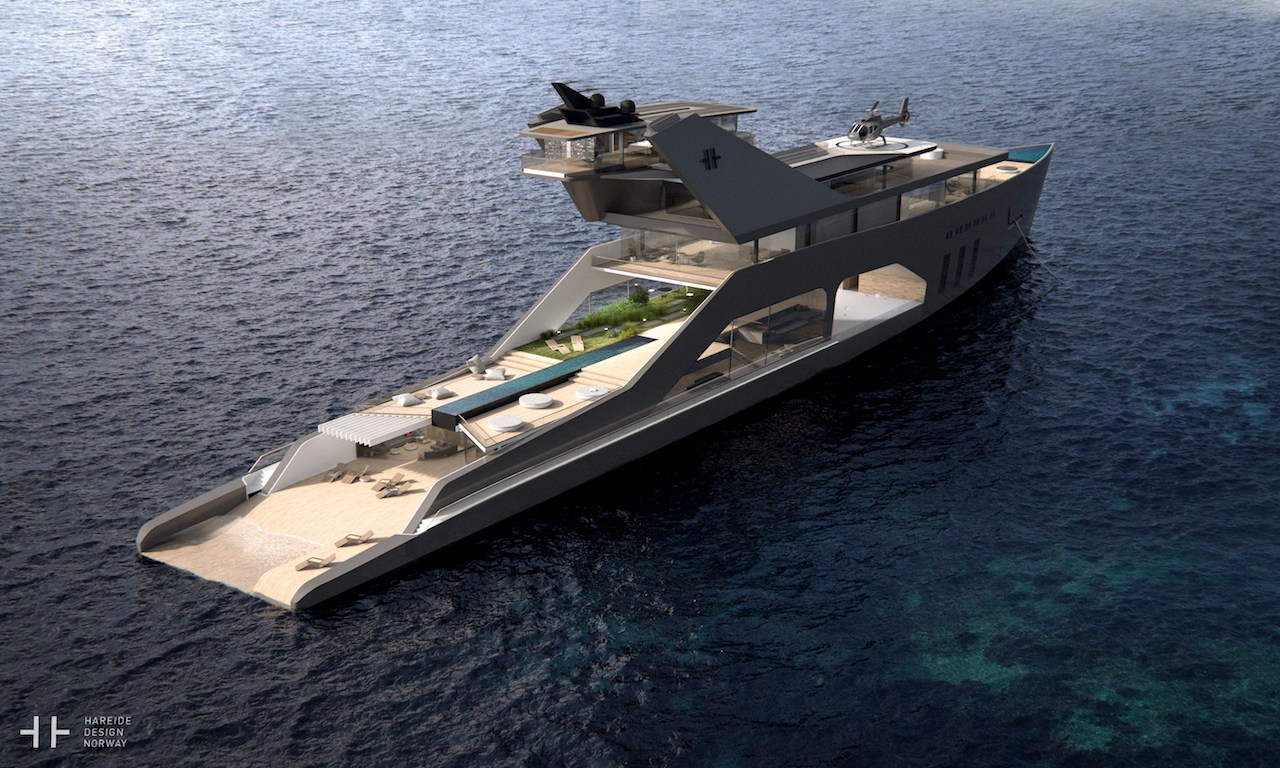 """The private """"beach"""" on this mega yacht is the ultimate in luxury"""
