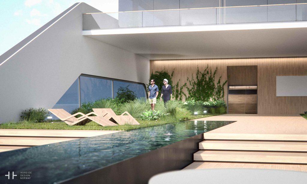 mega yacht pool garden
