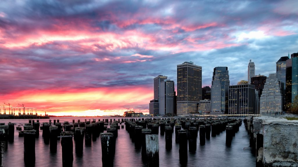 Downtown Manhattan sunset