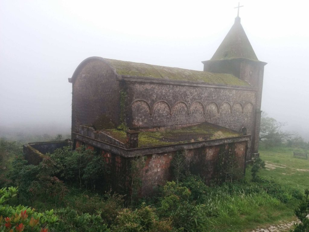 church in fog-compressed