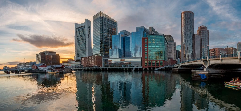 Boston evening harbor sunset