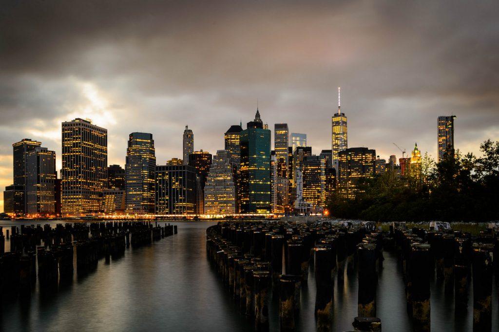 Manhattan cloudy sky skyline