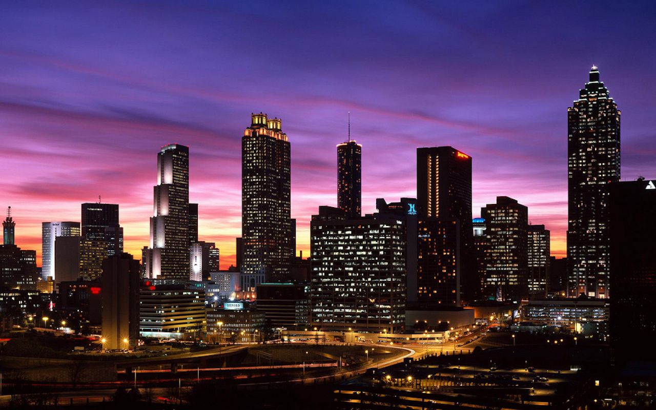 Atlanta,Georgia,downtown skyline,dusk