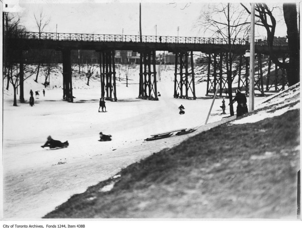 Sledding in Bellwoods Park. - [ca. 1910]