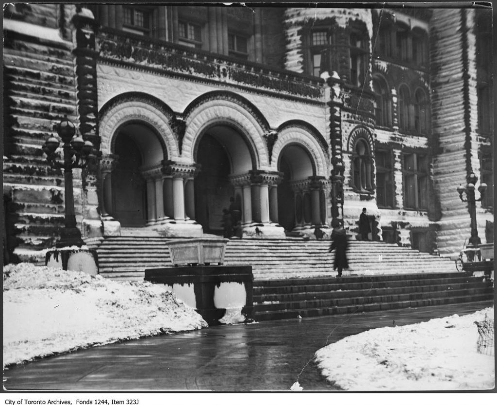 City Hall entrance covered in frost. - 1910