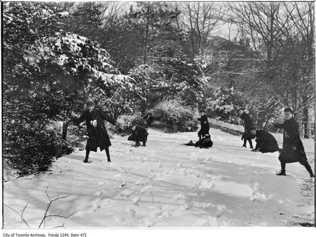 Snowball fight in Rosedale Ravine. - 1912