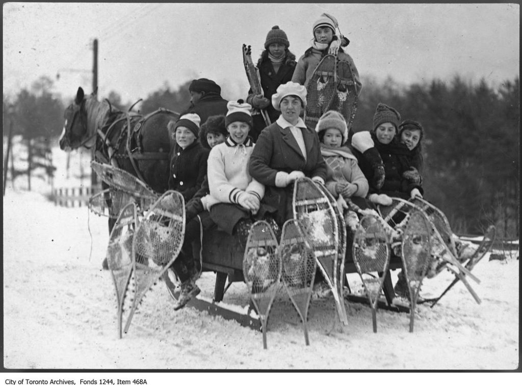 Group of snowshoers on horse-drawn sleigh. - [ca. 1920]